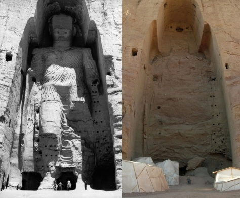 Buddhas of Bamiyan (Afghanistan) before and after the destruction in 2001.(Wikimedia Commons)
